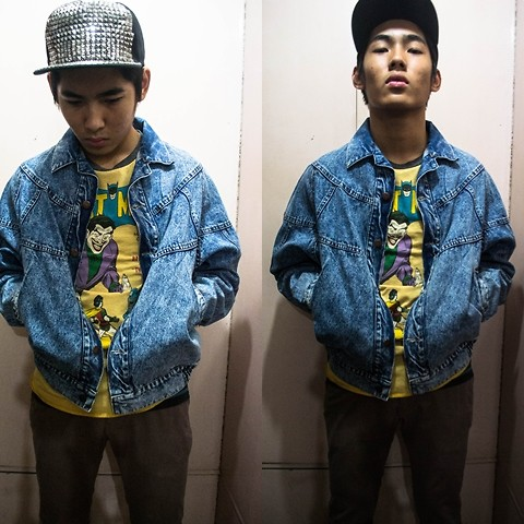 Dominic Cuerpo - Thrifted Jean Jacket, Batman Shirt, Bench Chino Pants, Studded Cap - Don't you forget about me.