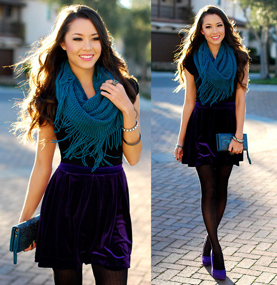 Jessica R. - Sunday Scarves Teal Infinity Scarf, Honey Punch Purple Velvet Skirt, Chic Wish Embossed Clutch, Similar: Purple Suede Heels - Purple Velvet if You Please + Giveaway