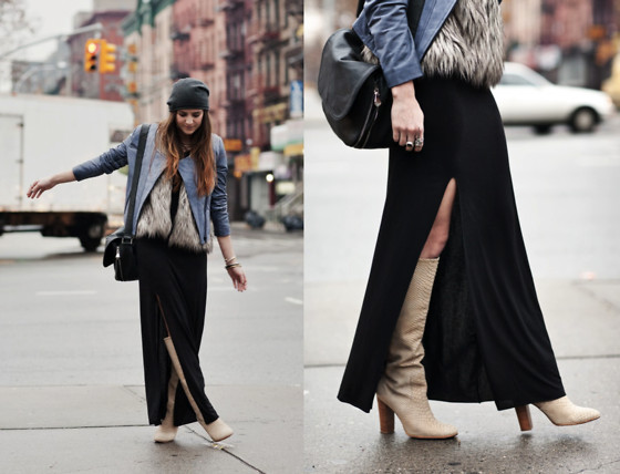 Laura Ellner - Cut25 Leather Jacket, Reformation Maxi Dress, Michael Kors Boots - WALK THIS WAY
