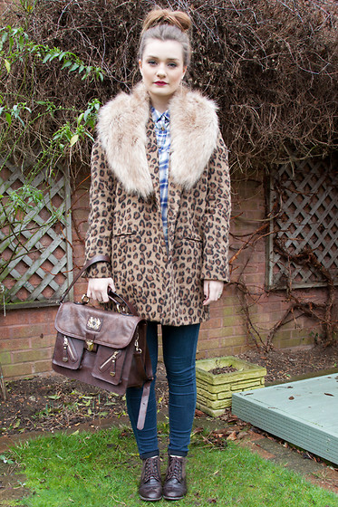 Laura Potter - River Island Coat, Brand Village Bag - Mahogany.