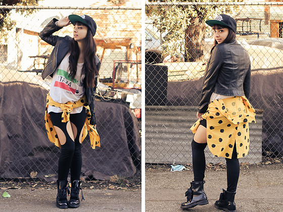 Chanelle L.™ - Forever 21 Leather Jacket, Penelope's Vintage Polka Dot Button Up, Evil Twin Leggings, Dr. Martens Boots - Fitted