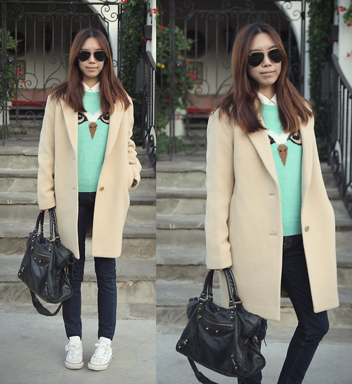 Joan K. - Topshop Sweater, Uniqlo Coat, J Brand Jeans, Balenciaga Bag, Converse Sneakers - Stare into my eyes