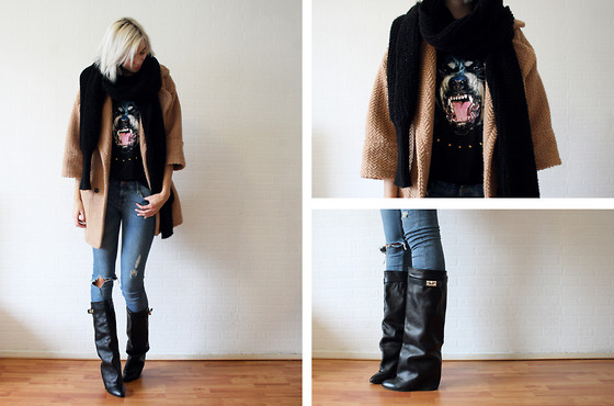 Sietske L - Choies Coat & Tee & Boots, Oasap Scarf, H&M Jeans - The warm stuff