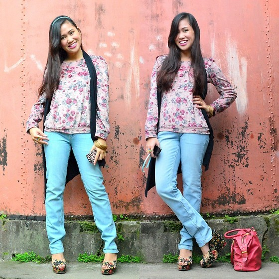 Fae Maaliw - Penshoppe Faded Denim Jeans, Bazaar Floral Top, Forever 21 Floral Wedges, Genevieve Gozum Vest - Bed Weather
