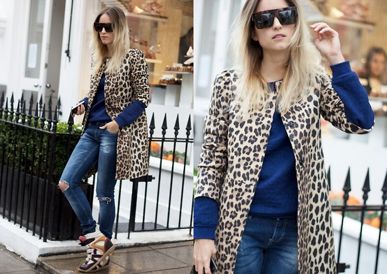 THEFASHIONGUITAR - - Zara Jacket, H&M Sweater, Zara Jeans, Isabel Marant Sneakers, Céline Sunglasses - LEOPARD ON THE RUN