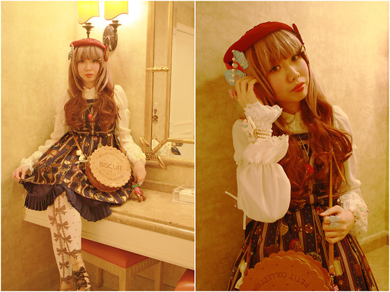 Zairai Chen - Victorian Maiden Red Beret, Chocomint Teacup Hair Clip, Moi Même Moitié Rose Scallop Original Lace Blouse, Angelic Pretty Chocolate Rosette Jsk, Made By Friend White Lace Cuffs, Swimmer Biscuit Bag, Angelic Pretty Sweet Cream House Tights, Angelic Pretty Blue Ribbon Ring, Super Lovers Strawberry Necklace, Angelic Pretty Chocolate Rosette Brooch, Chocomint Pink Ribbon Ring - Chocolate Rosette