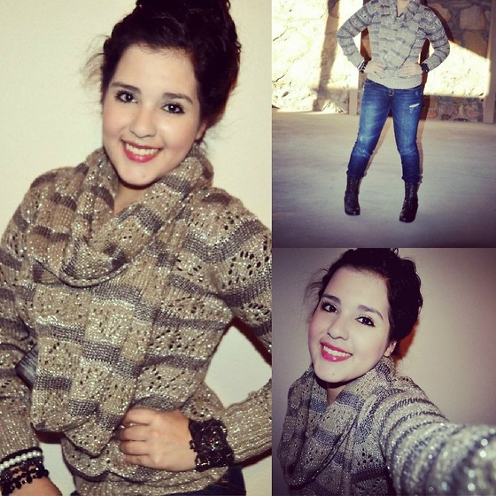 Lupita Garcia - Guess? Sweater, Abercrombie Jeans, Clairs Bracelet, Guess? Scarf - Endless Fashion