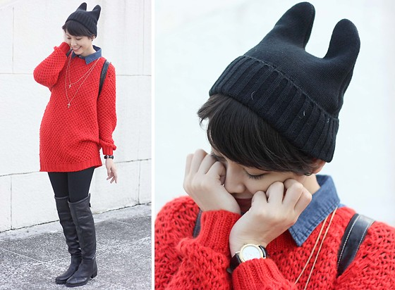 Bea Benedicto - Zara Red Knit Dress, Zara Boots - Taiwan Kitty
