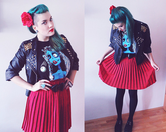 Lidija Strange Burton - Restyle.Pl Corpse Bride T Shirt, Tally Weijl Jacket, Gift From Dear Friend <3, Ebay Creepers, Diy Beetlejuice Ring, Diy Ring, Ann Christine Bow Belt, H&M Red Rose - Red Corpse