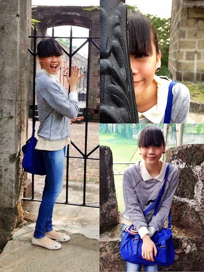 Jo Almanzor - Thrifted Moustache Earrings, Thrifted Moustache Necklace, Pill Soft Satchel, Thrifted Flesh Sheer Top With White Collar And Lining, Forever 21 Gray Hoodie Styled Sweater, Freshgear Blue Faded Jeggings, Parisian Flesh Ballet Flats - Cold Intramuros Morning