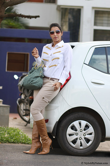 Shalini Chopra - Ministryofretail Golden Buckle Military Blouse, Mango Skinny Cargos, Carlton London Boots, Oasap Quilted Bag - From the Military Days comes the love