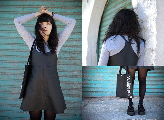 MIKA .B - I Burnt Your Clothes Leather Pinafore Dress, Grey Knit Top, Wallpaper Bag - Weather Reports