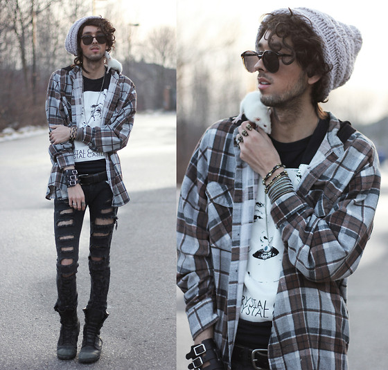 Bobby Raffin - Circa Crystal Castles Tee, Somewhere In Ny Hooded Flannel, Tripple Skull Ring, Vanessa Mooney Beaded Bracelets, Romwe Buckle Bracelet, Diy Shredded Jeans, Black Market Combat Boots, Pet Culture Squab - MEET SQUAB.