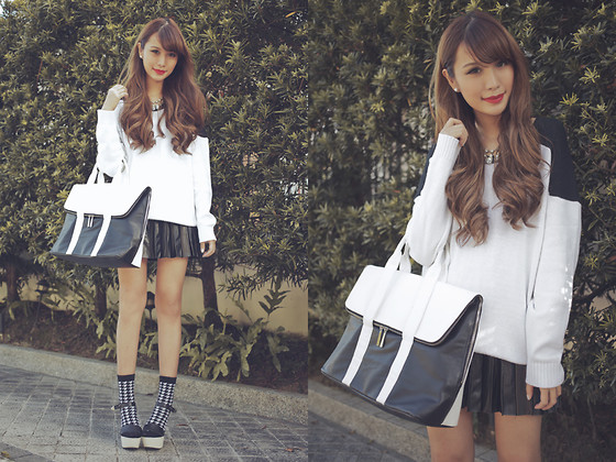 Tricia Gosingtian - Cecil Mcbee Sweater, Emoda Bag, Romwe Skirt, Forever 21 Necklace, Forever 21 Houndstooth Socks, Fashioncookie Shoeavenue Heels - 011813
