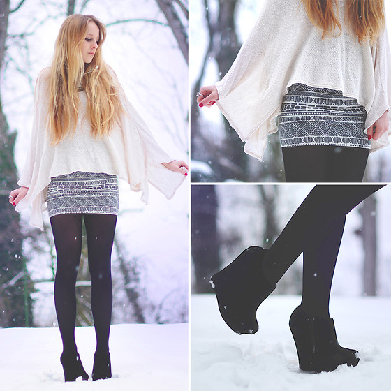 TIPHAINE MARIE - Zara Top, Brandy Melville Usa Skirt, Steve Madden Wedges - WHITE SNOW