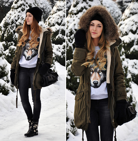 Karina P. - Topshop Parka, Urban Outfitters Sweater, Warehouse Jeans, Heavy Duty Shoes - She Wolf