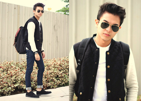 Mikyle Quizon - Ray Ban Aviators, F&H Black Quilted Varsity Jacket, Topman Basic Tee - No school no problems