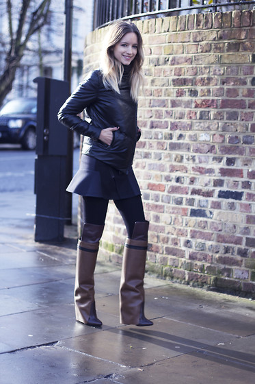 THEFASHIONGUITAR - - Muubaa Leather Down Jacket, The Kooples Skater Skirt, Givenchy Boots - THE BOOTS