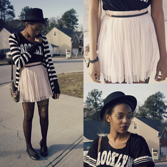 K. C - Forever 21 Pale Pink Skirt, Forever 21 Hat - Brooklyn