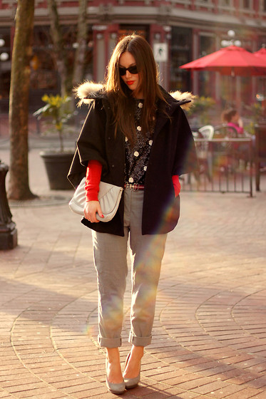 Alexandra G. - Loft 82 Fur Trimmed Cape, J.Crew Sequin Top, Club Monaco Trousers, Banana Republic Cardigan, Michael Kors Pumps, Persol Sunglasses - Spark