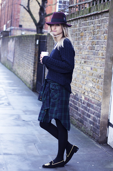 THEFASHIONGUITAR - - H&M Fedora, Zara Knit, Zara Shirt, Wolford Tights, Penelope Chilvers Slippers - CHECK THAT SKIRT