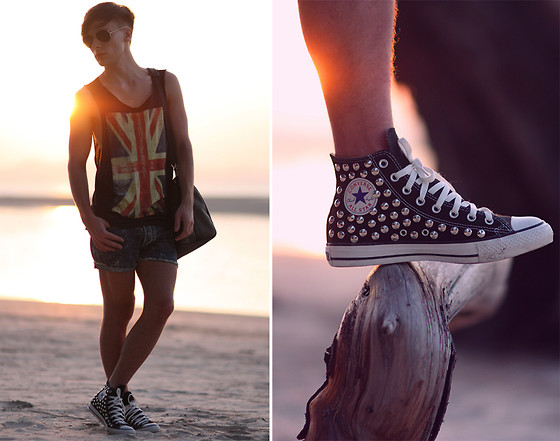 Dennis M. - Converse Sneakers, Acne Studios Shorts, H&M Tee, Ray Ban Sunglasses, Louis Vuitton Bag - Sunset at the beach