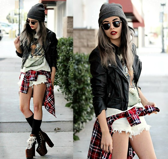 "KENDALL SANCHÈZ - Sunglasses, Pacsun Faux Leather Motorcycle Jacket, Collared Tiger Shirt, Washed Out Shorts, Pacsun Flannel, Unif Leopard Hellbounds, Revlon ""Blackberry"", Hair By Toni&Guy In Santa Monica, Macy's Fame By Lady Gaga - .SMOOTH CRIMINAL."