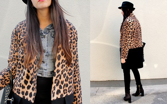 Jennifer Aranda - Zara Leopard Print Coat, Zara Hat, Divided Denim Jacket, Divided Black Jeans, H&M Boots - No choice of words will break me from this groove