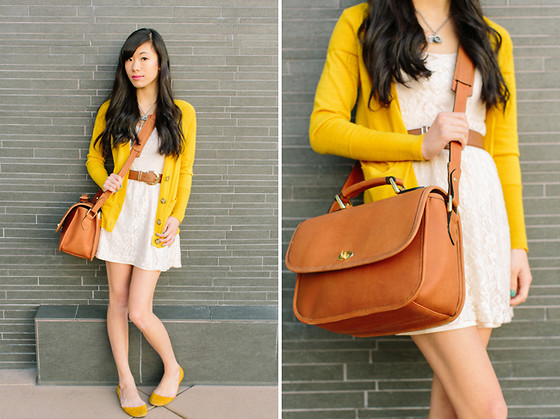 Serena J - Ann Taylor Mustard Yellow Cardigan, H&M Cognac Brown Belt, Forever 21 Cream Lace Dress, Quintus79 Mustard Yellow Flats, Ona The Palma By - New Camera Bag! :)