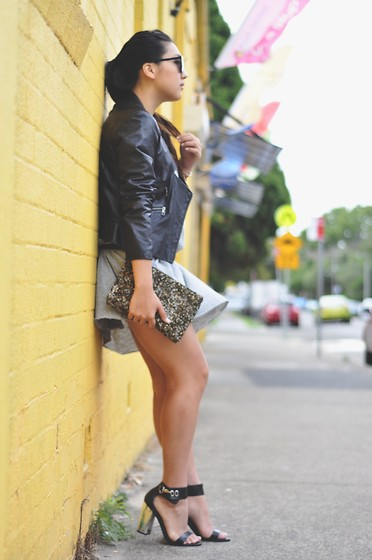 Karen - Bassike Dress, Topshop Heels, Zara Sequin Clutch, Saba Leather Jacket - Summer leathers