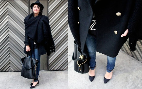 Jennifer Aranda - Chiapas Poncho, The Doors Diy Tee, Zara Coat, Zara Denim, Zara Baby Heels, Zara Maxi Bag, Zara Hat - So before we die I'd like to do something nice