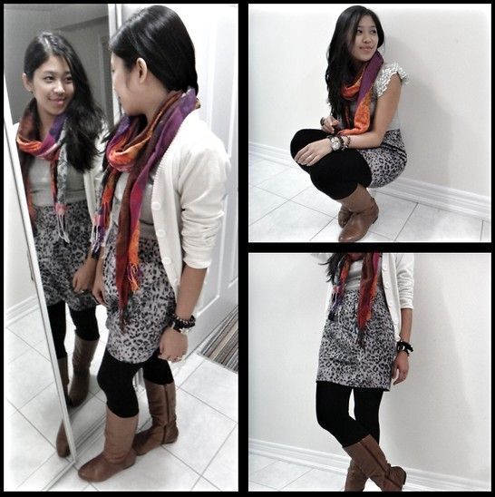 Khiara Albaran - Cotton On Animal Print Skirt, Costa Blanca Cardigan, Aldo Scarf - Living in layers