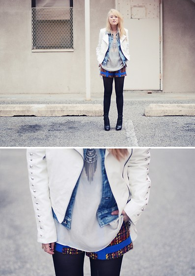 Tessa M - Motel Leather Jacket, Rag & Bone Shorts, Proenza Schouler Boots - Nitty gritty
