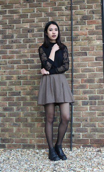 Cristina C - Primark Tweed Circle Skirt, Mums \ Lace Turtle Neck, Thrifted Boots - Plain Jane