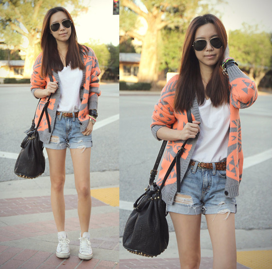Joan K. - Nameless Cardigan, Urban Outfitters Boyfriend Shorts, Alexander Wang Bag, Converse Sneakers - Street Style Exotic
