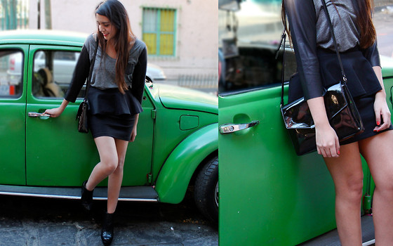 Jennifer Aranda - Zara Half And Half Shirt, Zara Bag, Zara Peplum Skirt - One minute to midnight