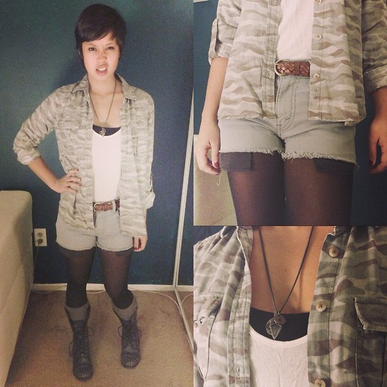 Sassy Cuna - American Eagle Army Fatigue Top, Thrifted High Waisted Shorts, Madden Girl Studded Combat Boots, American Eagle Arrow Necklace - Sir, yes sir!