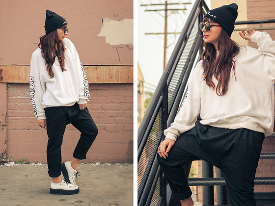 Chanelle L.™ - Oak Drop Crotch Pants, T.U.K. Creepers, Penelope' S Vintage Pv Los Angeles Beanie - 1 Crew Neck, 2 Ways: Outfit 2