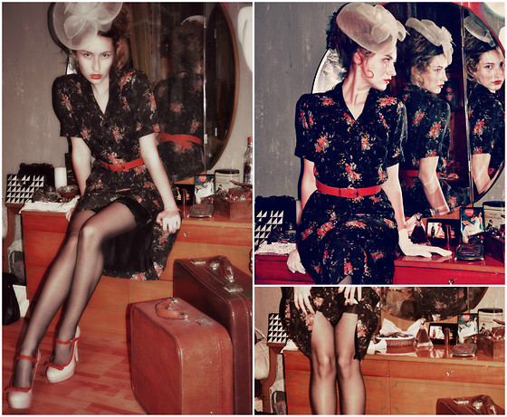 Lea Perdih - Beige Hat, Vintage Flower Dress, Vintage Red Belt, Black Standing Stockings, Buffalo London Pin Up Shoes - Judy in disguise
