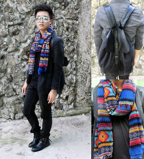 Kojin Domingo - F&H Leather Knapsack, F&H Aztec Scarf, Ray Ban Aviator Sunnies - Black Meets Aztec