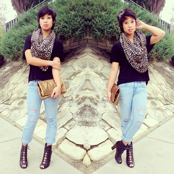 Sassy Cuna - H&M Leopard Scarf, Cotton On Black Hi Low Top, Diy Distressed Jeans, Bcbg Strappy Booties, Old Navy Gold Clutch - Cat Scratches