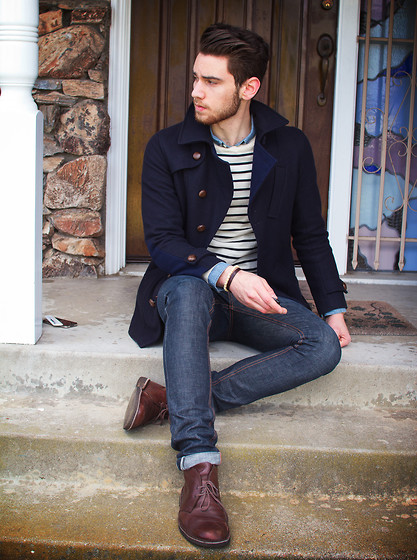 Edward Honaker - Oliver Spencer Coat, A.P.C. Sweater, Kasil Jeans, Clarks Boots - YO KENDALL