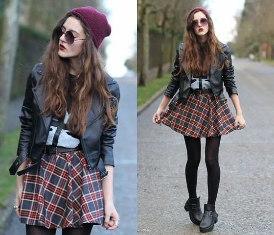 E V - Plaid Skirt, Cross/Dove Tee, Leather Jacket - CEASE TO BEGIN