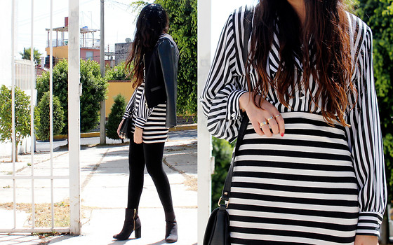 Jennifer Aranda -   Vintage, H&M Striped Skirt, Forever 21 Half And Half Jacket, H&M Boots - Baby striped