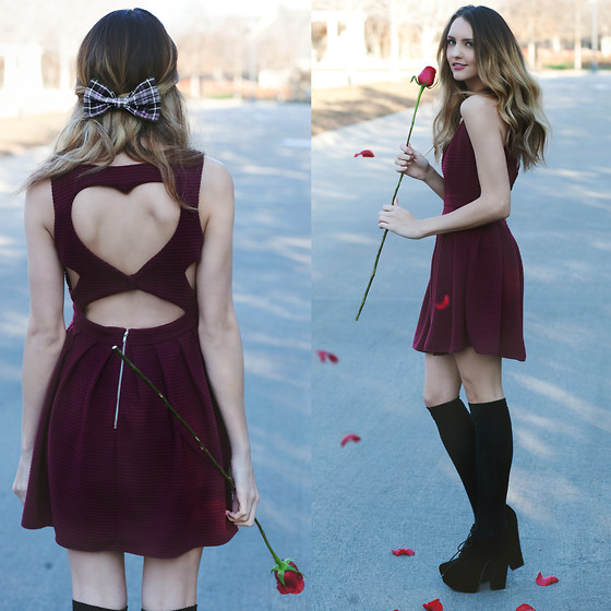 Madeline Becker - Windsor Heart Dress, Nasty Gal Lace Up Velvet Heels, American Apparel Plaid Bow, Knee High Black Socks - HE LOVES ME
