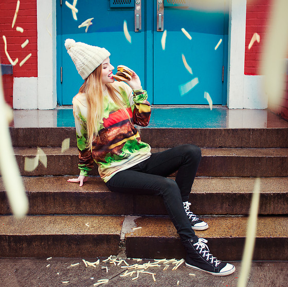Ruby June - Hamburger Sweater, Pacsun Black Denim Leggings, Coach Black Sneakers, Market Hq Knit Hat - FOOD L♥VERS