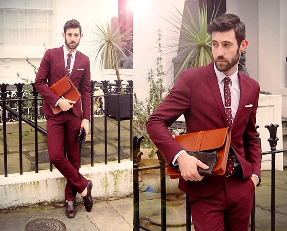Adrian Cano - H&M Maroon Suit, Primark Maroon Tie With White Dots, Leather Chocolate Gloes, Silver Tie Pin, Wine Loafers, Holdall & Co Leather Tan Folio - Love means nothing in tennis, but it's everything in life