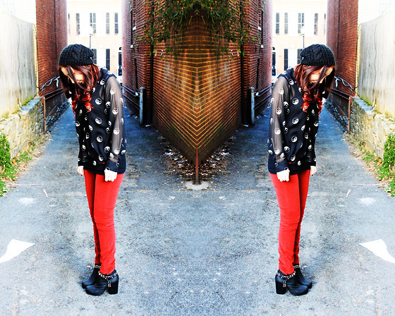 Jordyn Ariel - Nasty Gal Yin Yang Blouse, Unif Red Axl Pant, Jeffrey Campbell Spiked Moto Boot - You are the Yin to my Yang