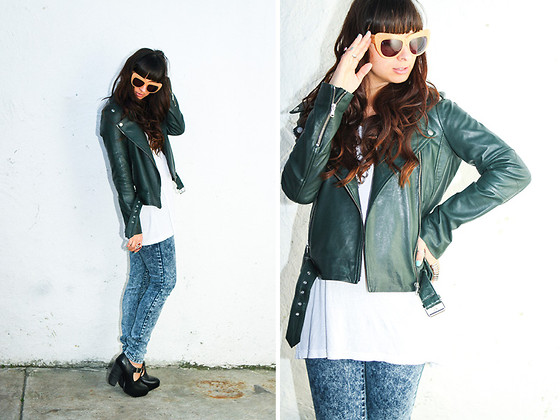 Chanelle L.™ - House Of Harlow Chelsea Sunglasses, Ymi Jeans Acid Wash, Kenna T Moto Leather Jacket - Moto
