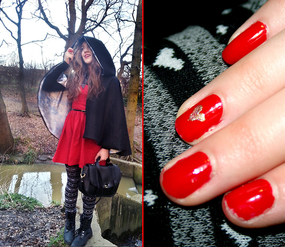 Claire Raywood - Penguin Hooded Cape, Primark Wool Tights, Black Satchel, Red Dress, Barry M Bright Red Nail Polish, Number 17 Dazzle The Night Nail Polish - A Late Valentines